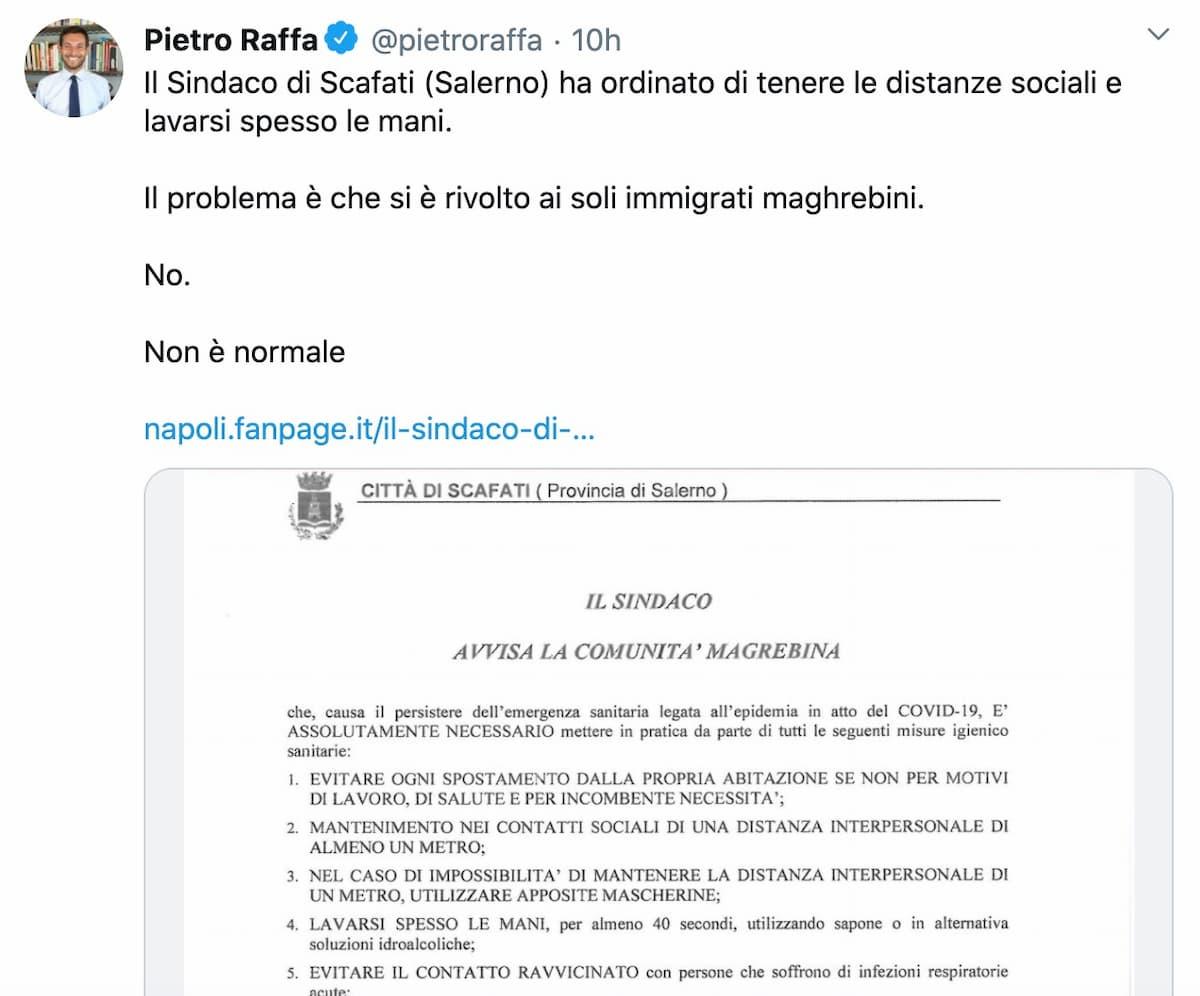 """Coronavirus, il sindaco di Scafati (Salerno) nell'ordinanza si rivolge alla """"comunità magrebina"""""""