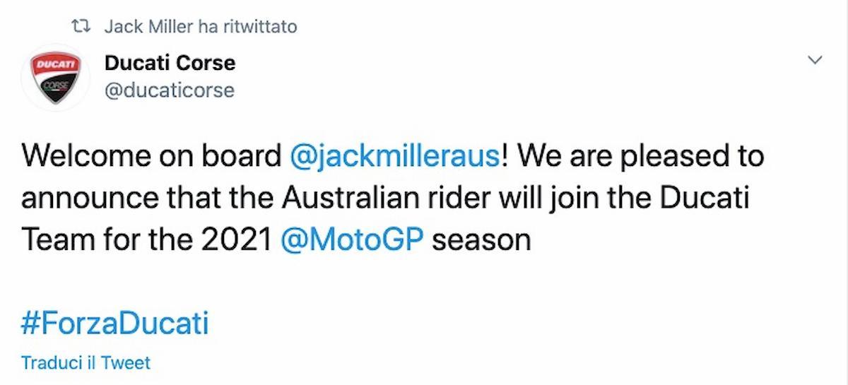 Jack Miller nuovo pilota della Ducati, ha firmato fino al 2021