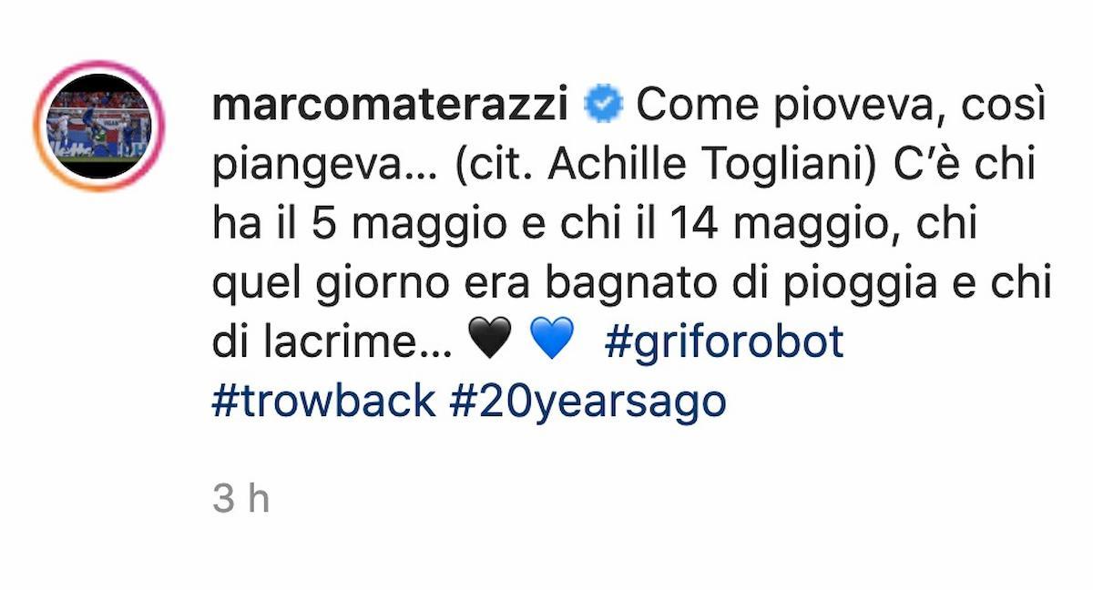 """Materazzi, post contro la Juventus su Instagram: """"14 maggio. Come pioveva, così piangeva…"""""""
