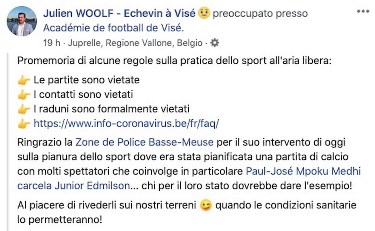 La polizia ferma una partita di calcio clandestina, in campo anche l'ex Cagliari e Chievo Mpoku