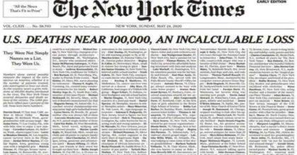 "Coronavirus, New York Times pubblica 1000 necrologi in prima pagina. ""Perdita incalcolabile"""