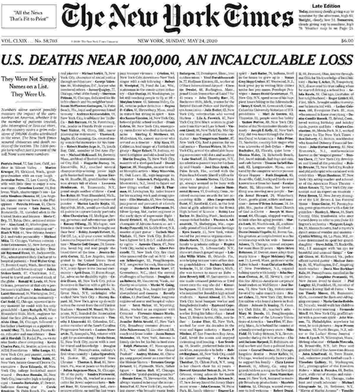 Coronavirus, New York Times pubblica 1000 necrologi in prima pagina