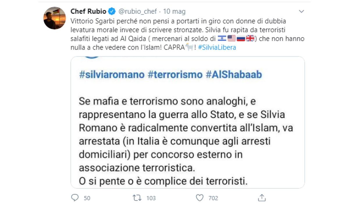Lite Sgarbi-Chef Rubio su Silvia Romano: volano insulti via Twitter