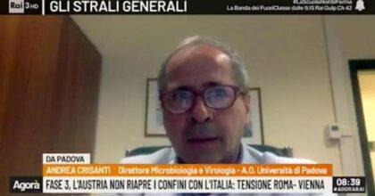 """Coronavirus, Crisanti: """"Austria fa bene a non aprire all'Italia. Ci sono ancora un sacco di casi"""""""