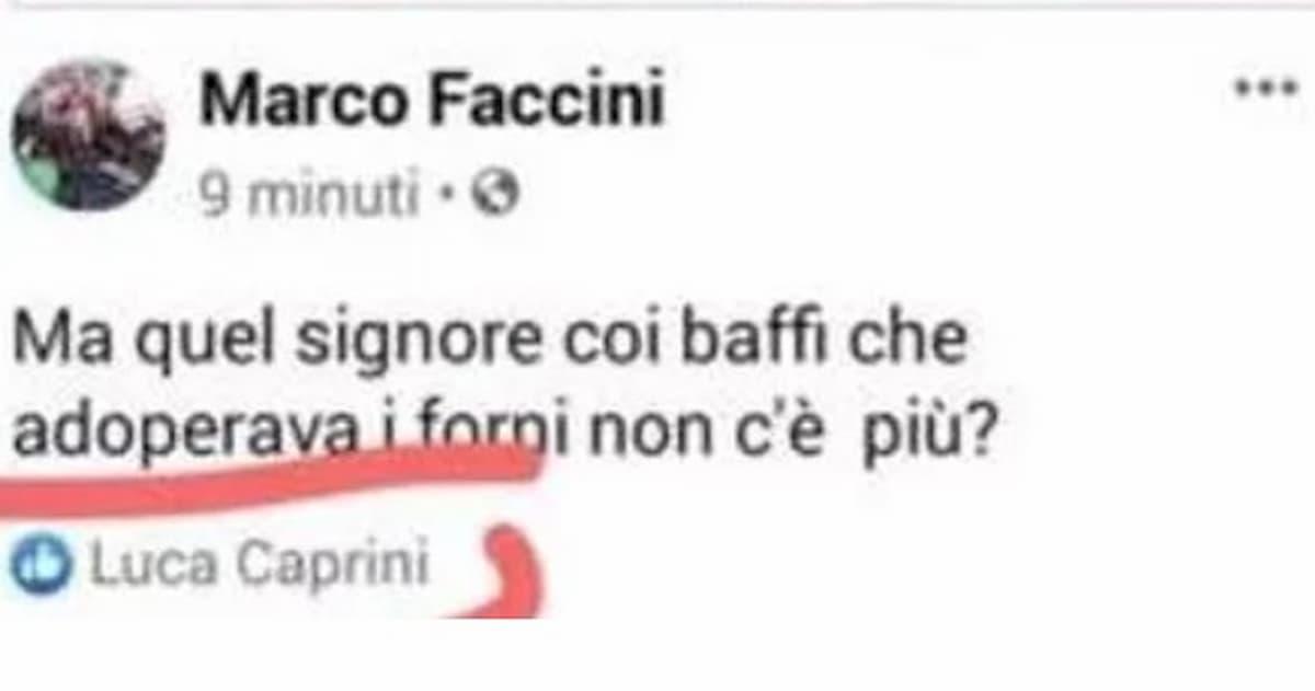 Luca Caprini (Lega) mette like ad un post sui forni crematori
