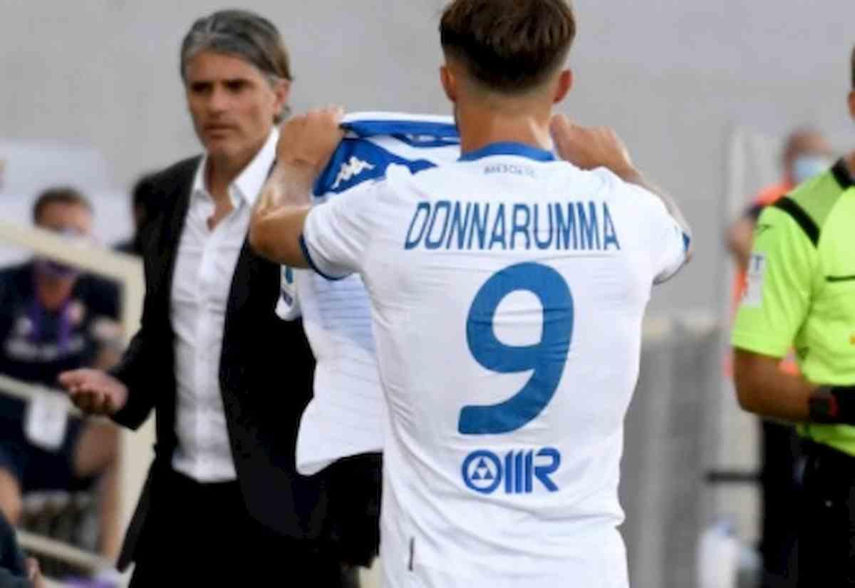 Fiorentina Brescia 1-1 Donnarumma esulta dopo il gol, poi Pezzella