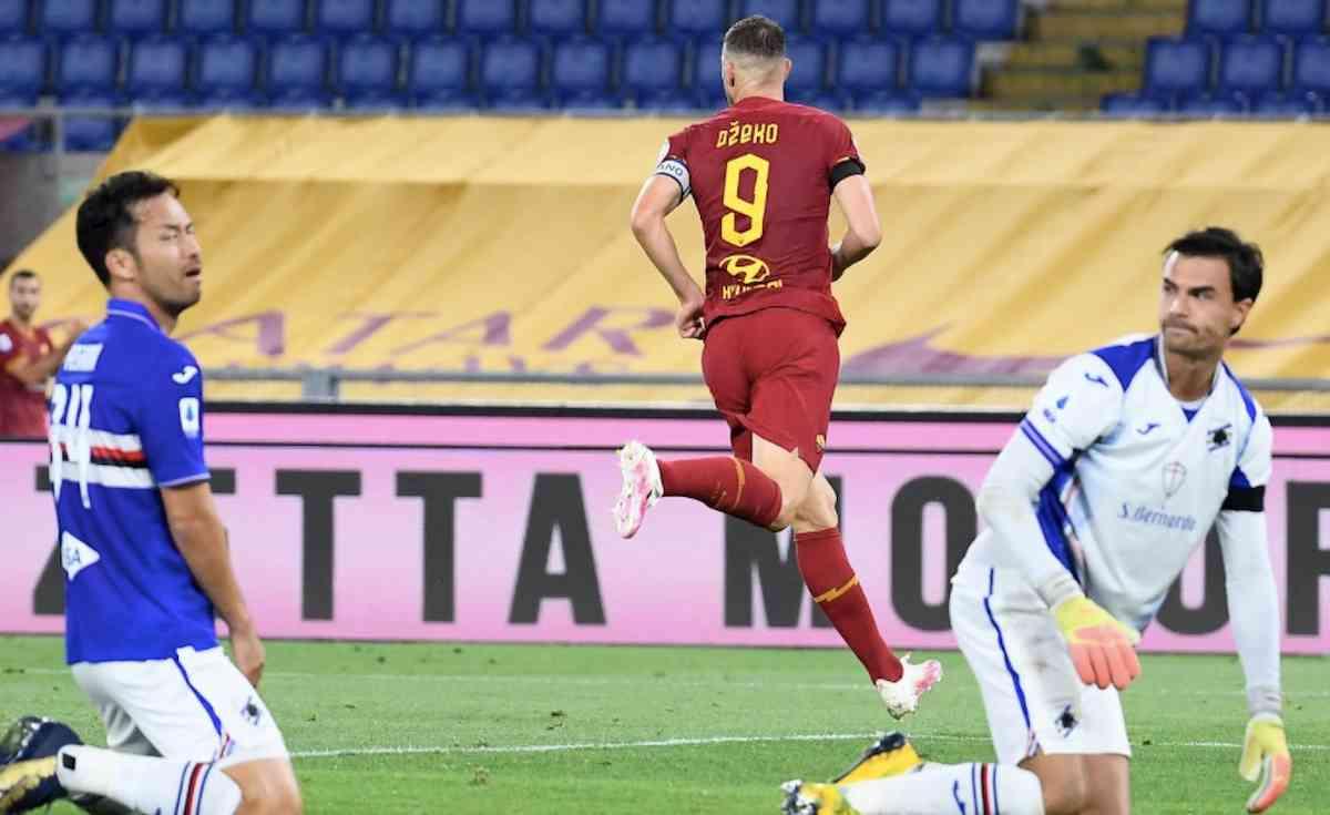 Roma-Sampdoria 2-1, decisiva doppietta Dzeko