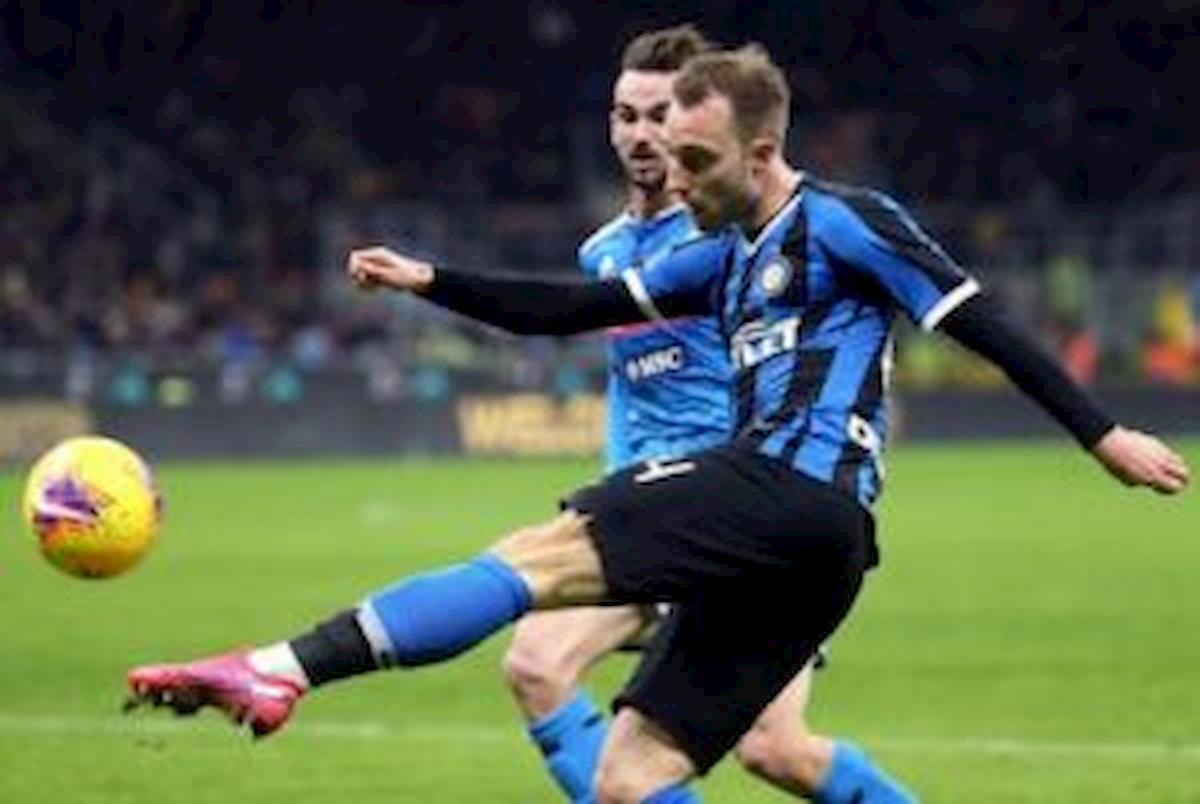 Napoli-Inter, Eriksen in gol direttamente da calcio d'angolo