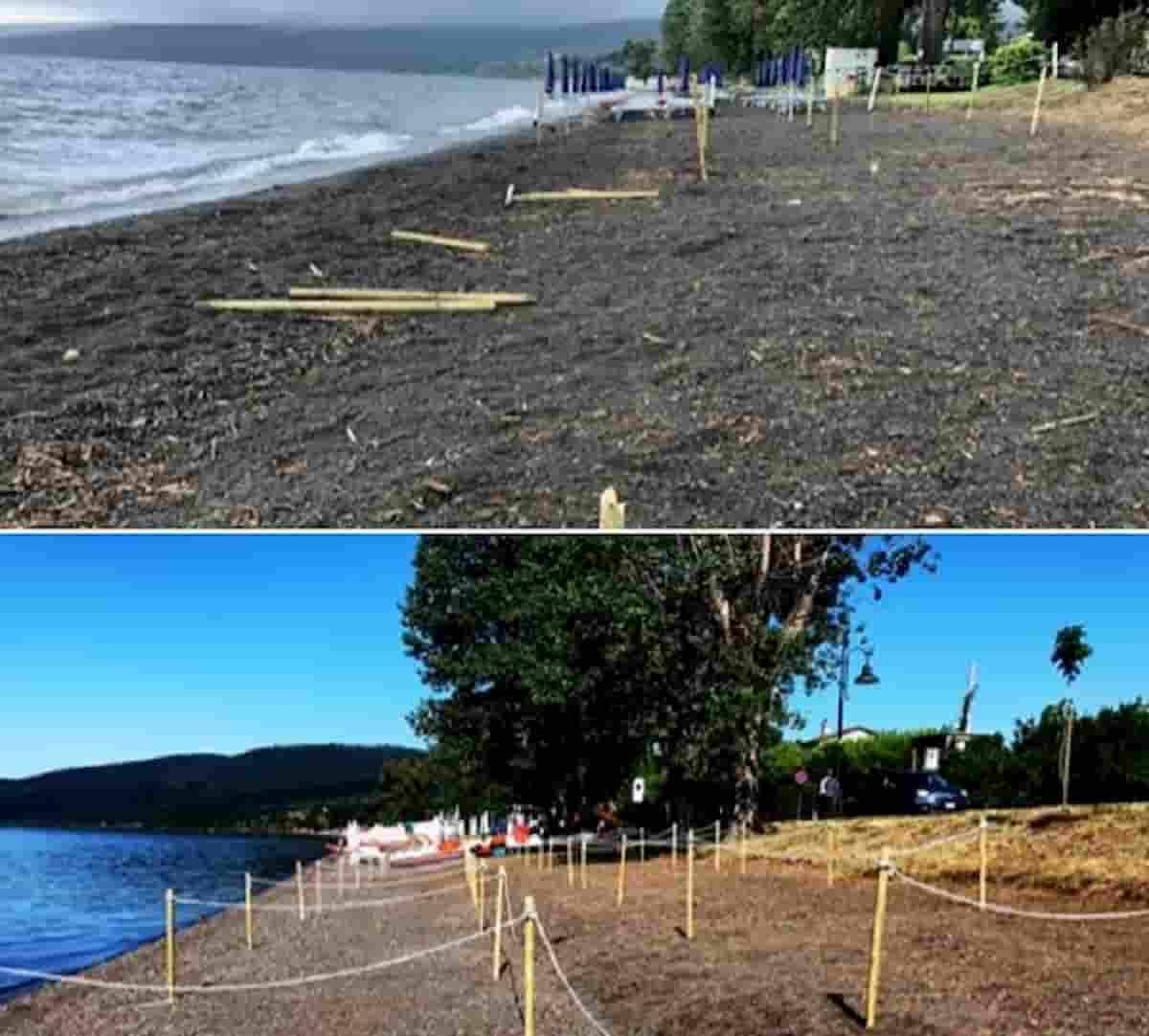 Trevignano Romano, spiaggia anti Covid devastata sul Lago di Bracciano FOTO