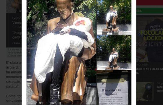 Statua Montanelli ancora presa di mira, ora ha una bambola di una bimba in braccio FOTO