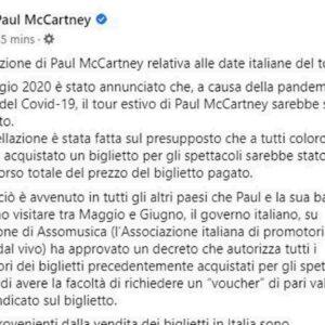 paul mccartney, post su facebook
