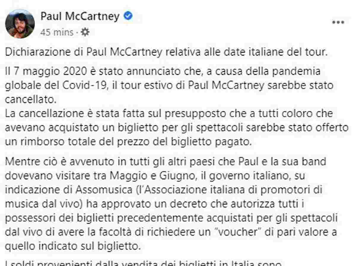 paul mccartney, post su facebook