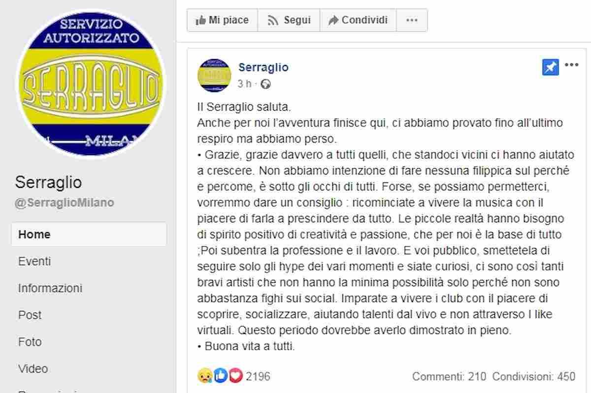 Il post su Facebook del Serraglio