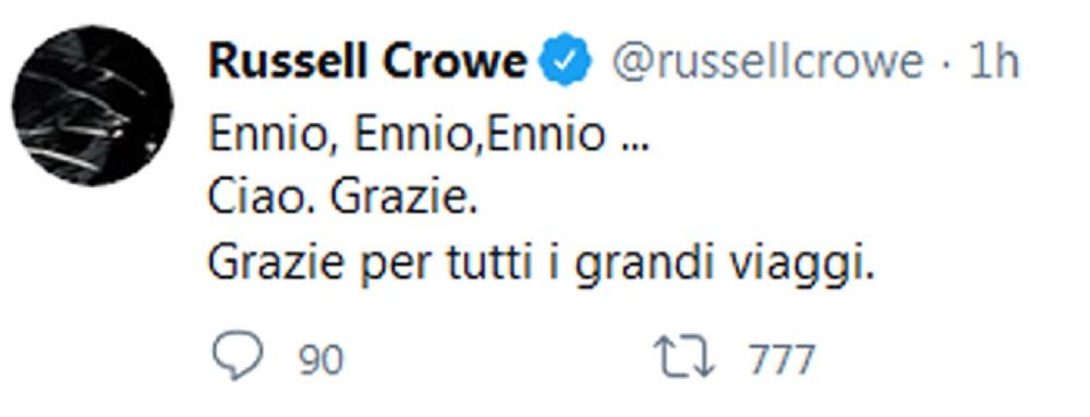 """Ennio Morricone, l'maggio di Russell Crowe in italiano: """"Grazie per tutti i grandi viaggi"""""""