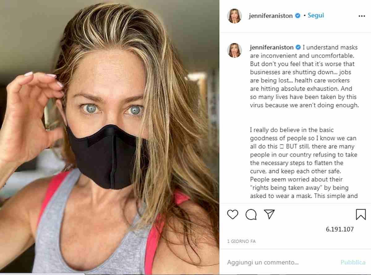 Jennifer Aniston appello su Instagram