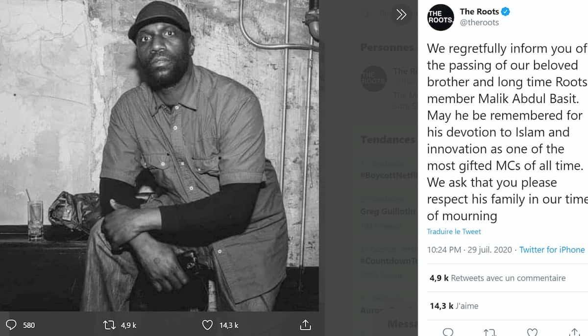 Malik B, rapper dei Roots, è morto
