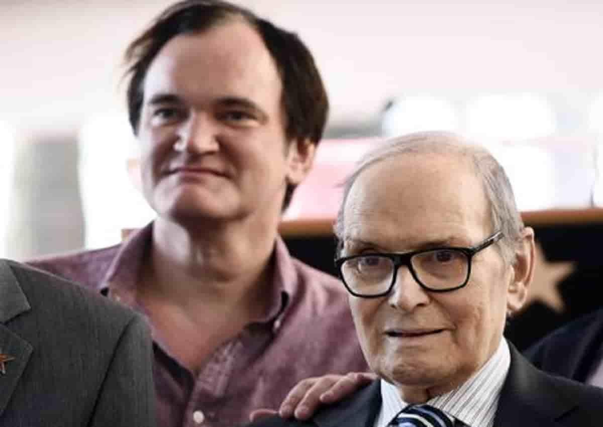 Ennio Morricone e Quentin Tarantino, foto Ansa