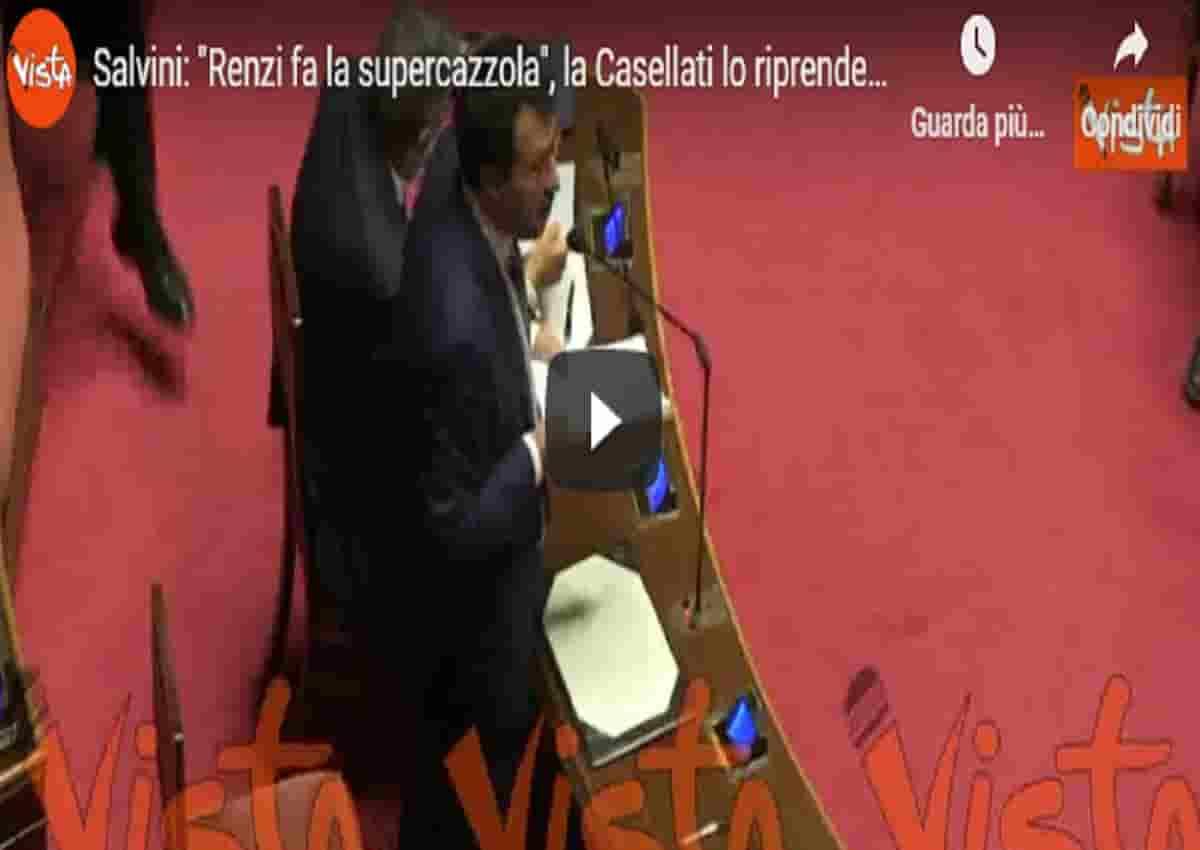 Matteo Salvini e le parole su Renzi al Senato