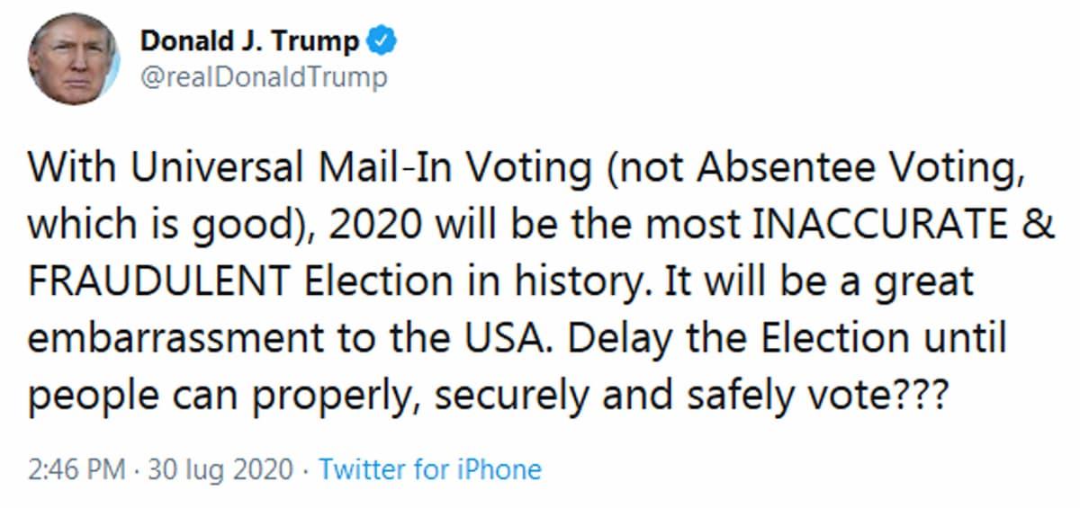 """Elezioni Usa 2020, Trump (in affanno): """"Rinviarle fino a quando sarà sicuro votare?"""""""