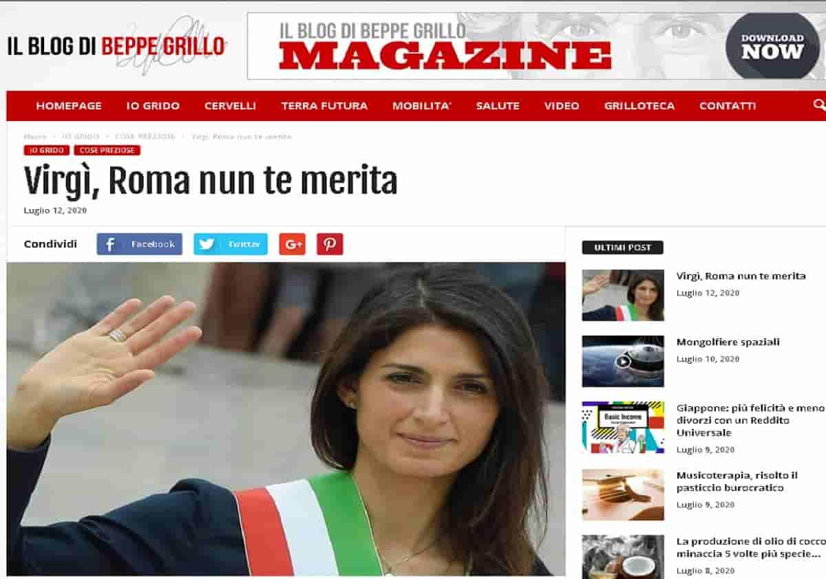 Virginia Raggi, il post di Beppe Grillo