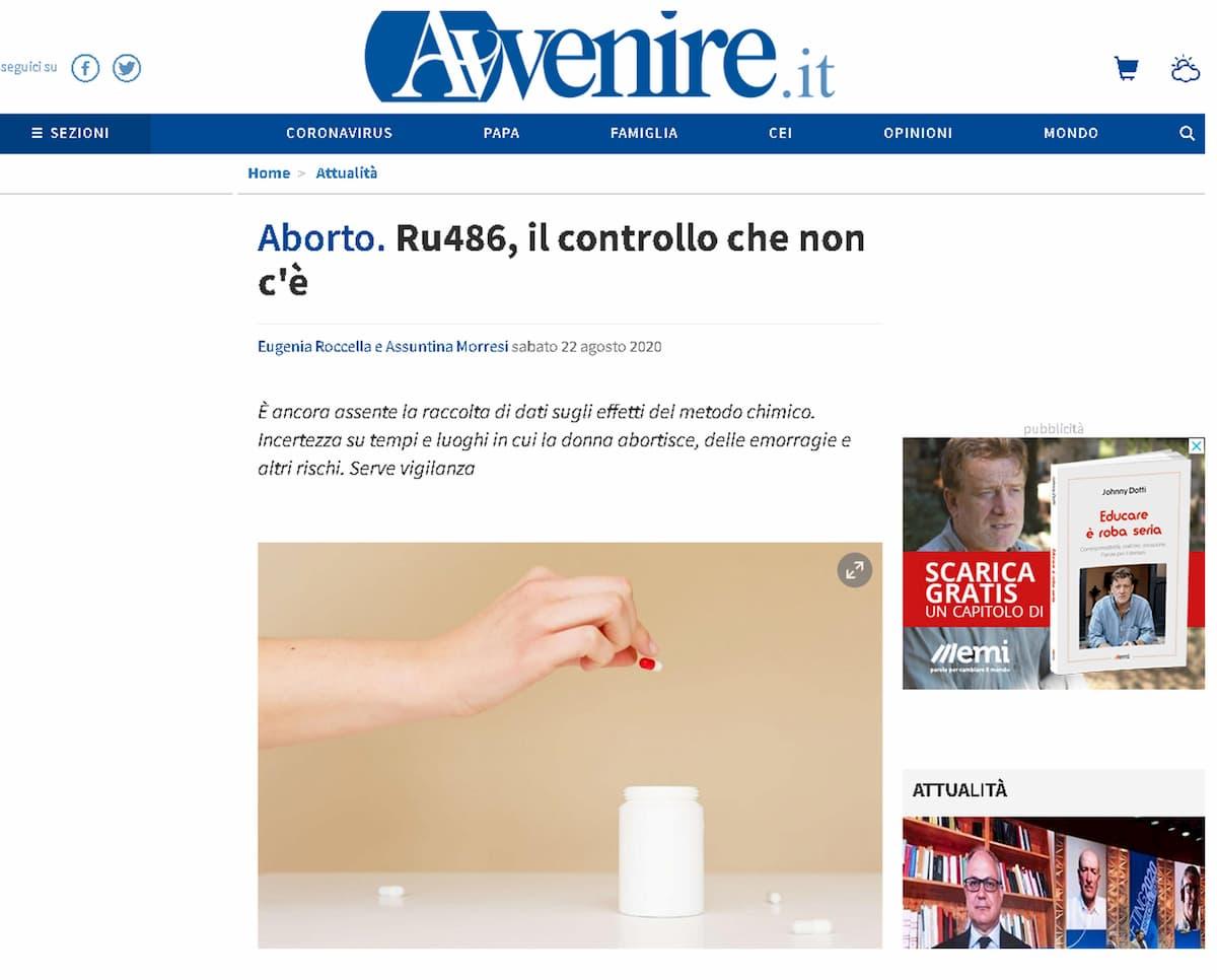 """Aborto, Avvenire contro le linee guida della Ru486: """"Violano la Costituzione"""""""