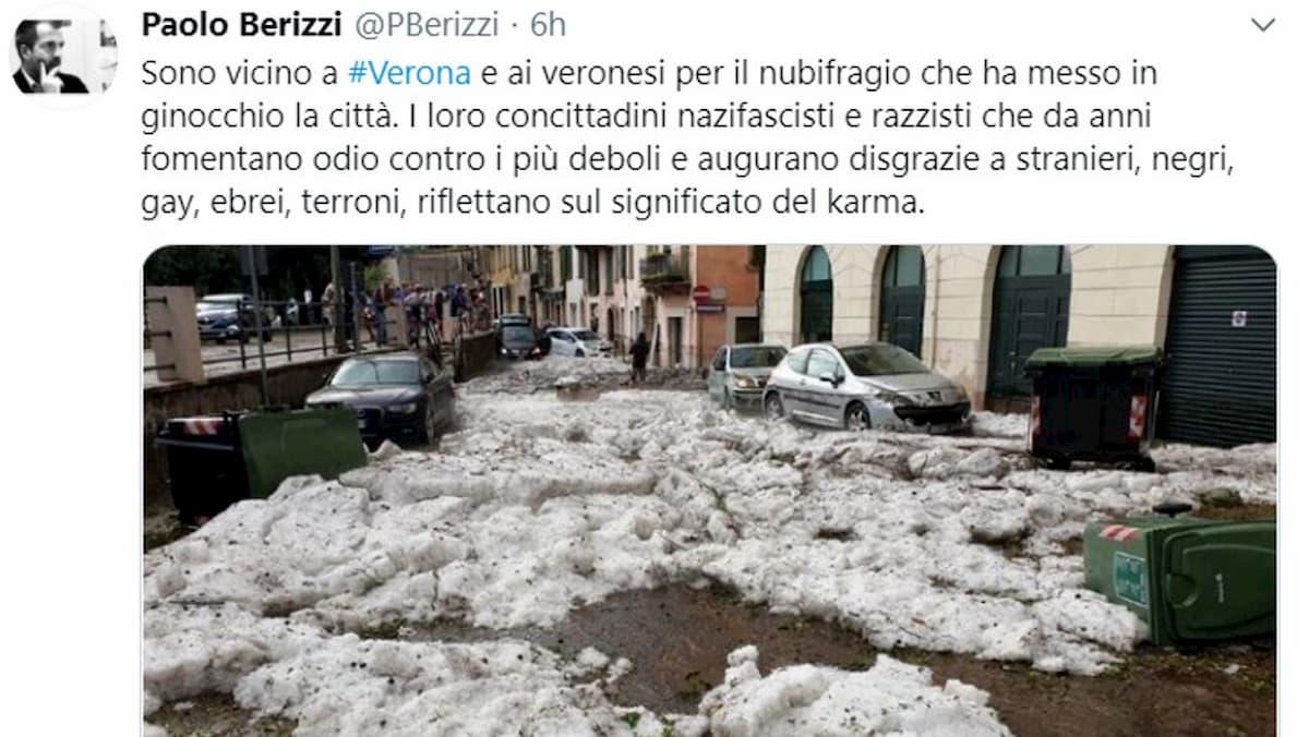 "Nubifragio a Verona, Paolo Berizzi: ""Nazifascisti e razzisti riflettano sul karma"". Ed è polemica"
