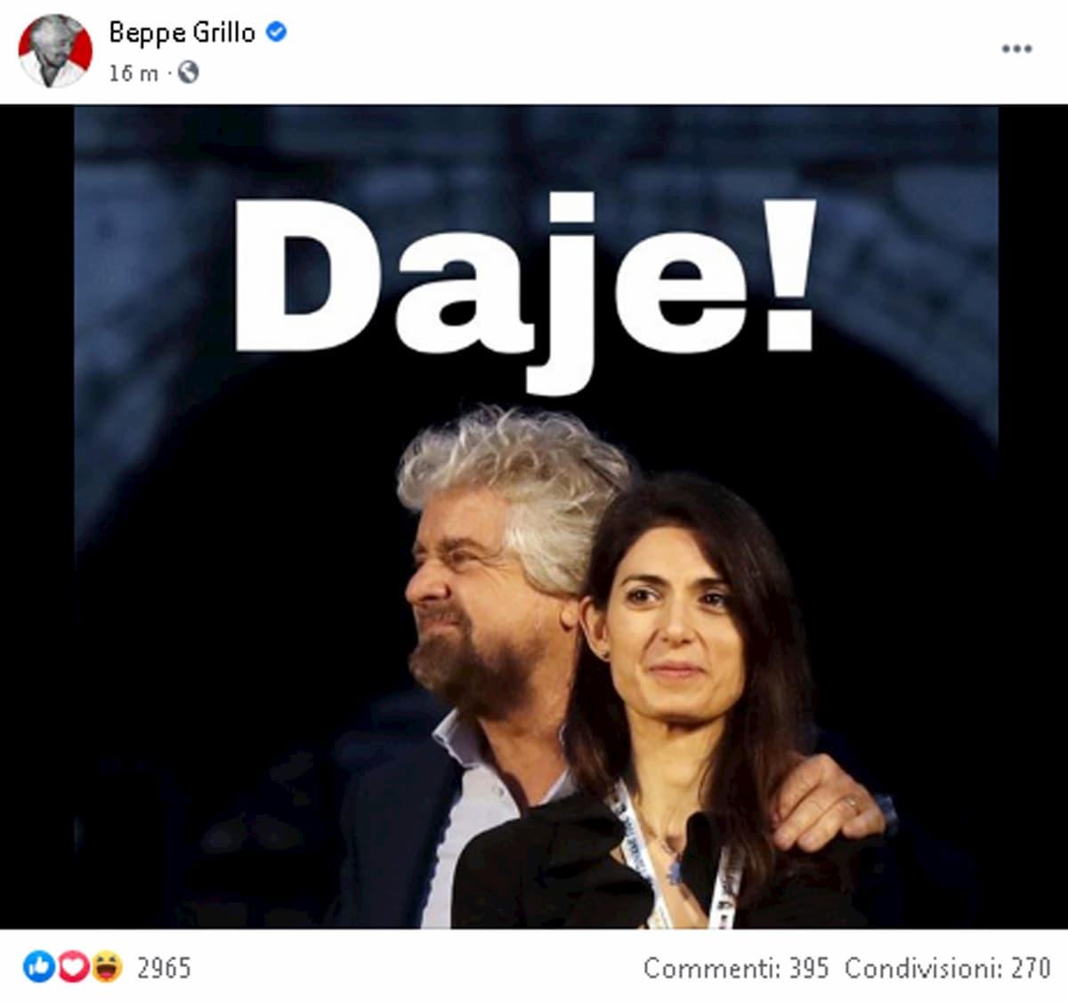 Roma, da Grillo endorsement a Virginia Raggi per il bis in Campidoglio