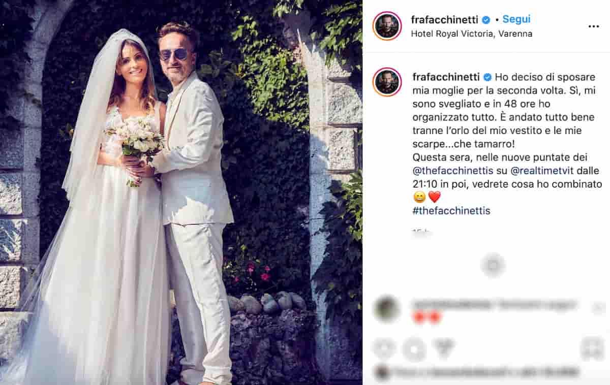 Francesco Facchinetti, matrimonio bis