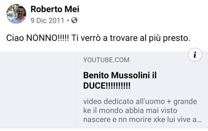 """Roberto Mei, i post """"fascisti"""" del 2011"""