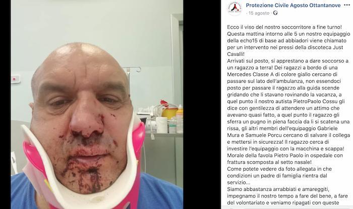 """Pietro Paolo Cossu, operatore 118 aggredito da turista in discoteca. """"Spostati, mi rovini le vacanze"""""""