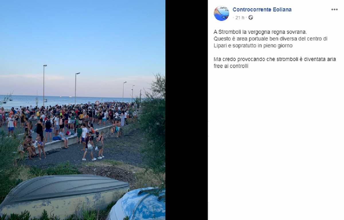 stromboli assembramenti, foto Facebook