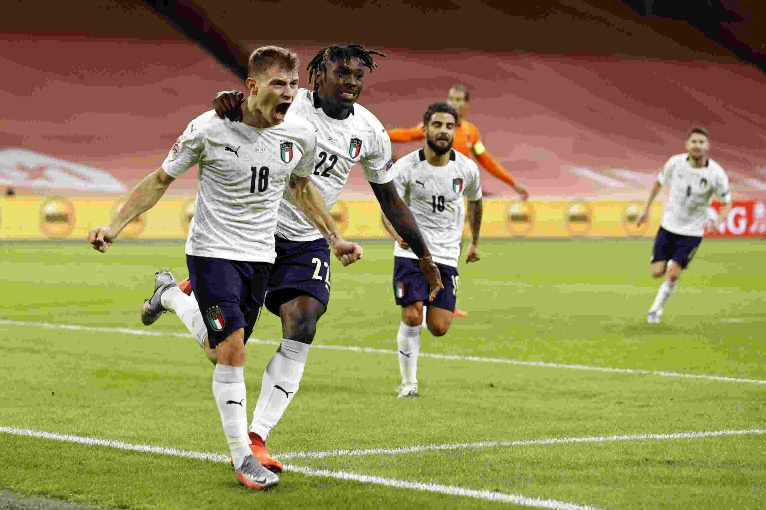 Italia batte Olanda gol di Barella e vola in vetta alla classifica Nations League