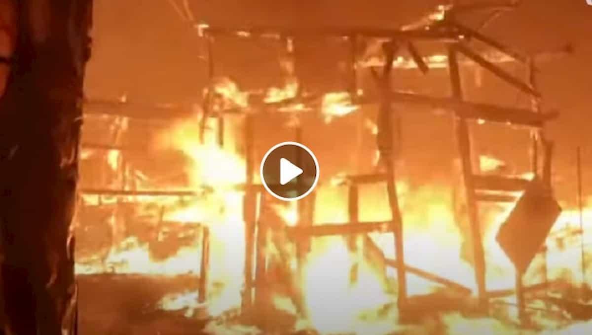 Lesbo, maxi incendio nel campo profughi di Moria, più grande d'Europa VIDEO
