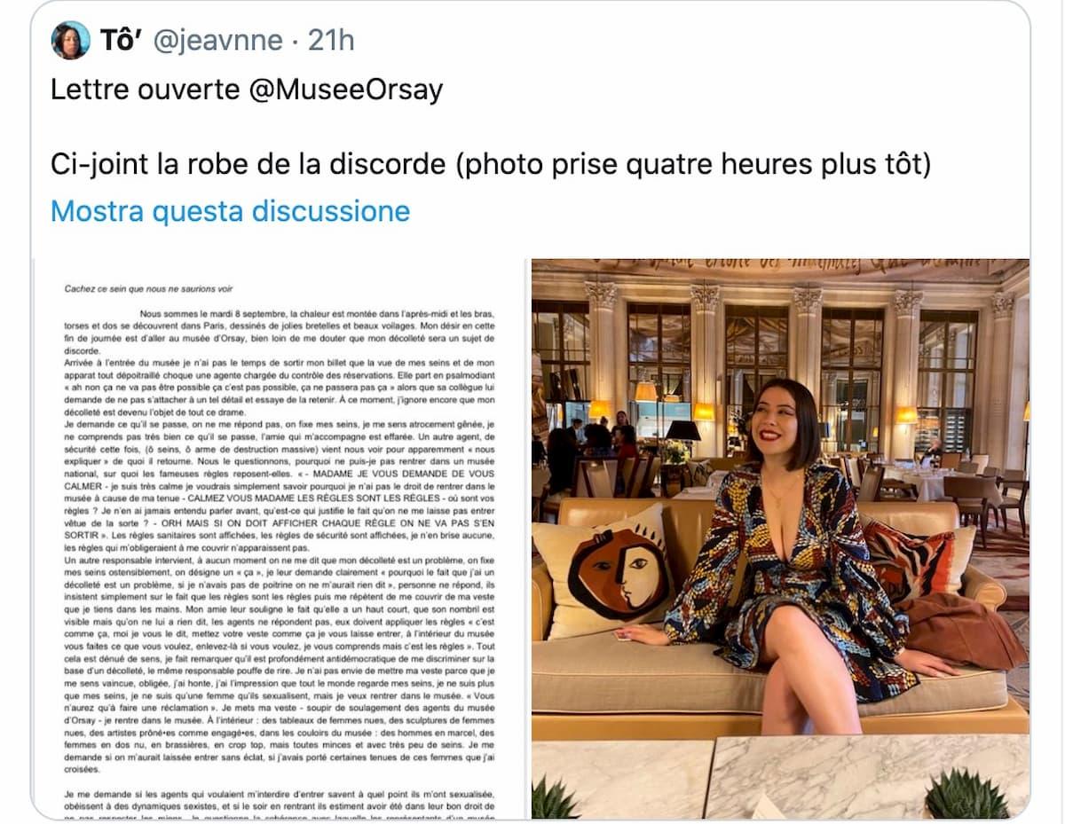 Museo d'Orsay, donna bloccata all'ingresso dai funzionari per la scollatura dell'abito