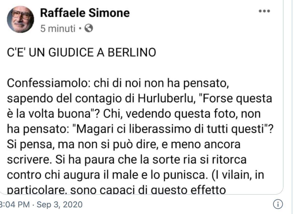 """Berlusconi, il post del linguista Raffaele Simone: """"Chi non ha pensato: forse è la volta buona?"""""""