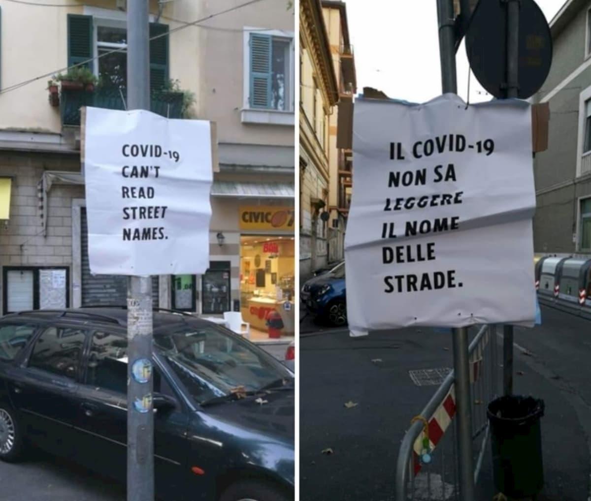 """La Spezia, cartelli contro la ordinanza anti-assembramenti: """"Il Covid-19 non legge il nome delle strade. Basta razzismo"""""""