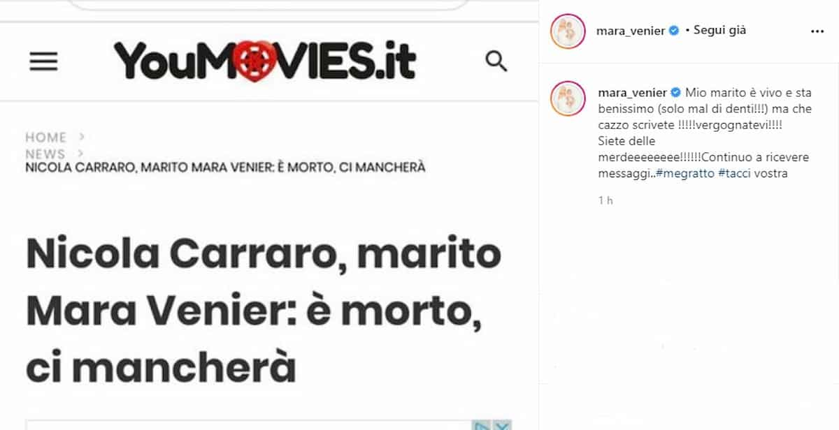 """""""Il marito di Mara Venier: è morto"""": la conduttrice replica alla fake news sulla morte di Nicola Carraro"""