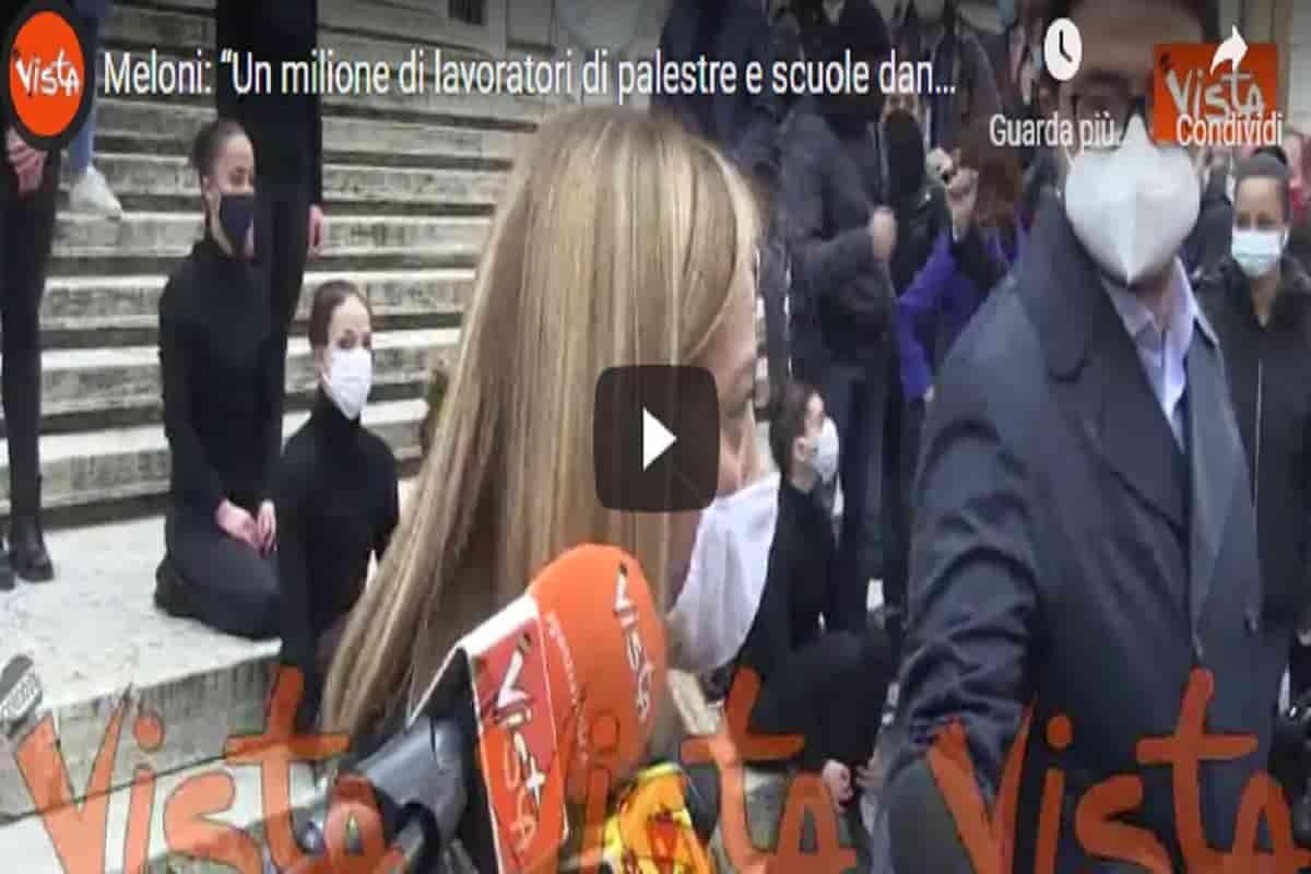 """Giorgia Meloni: """"Un milione di lavoratori di palestre e scuole danza chiusi senza un motivo"""" VIDEO"""