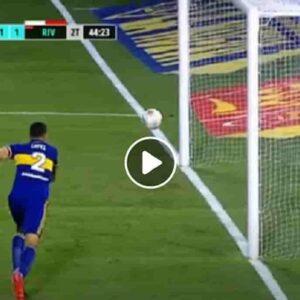 """Boca-River, la palla non entra nella porta del Boca dopo un rimbalzo assurdo: e subito """"ha soffiato Maradona"""" VIDEO"""