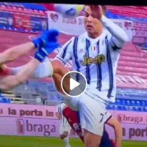 Cristiano Ronaldo, fallo su Cragno: andava espulso per il piede in faccia, l'hanno solo ammonito VIDEO