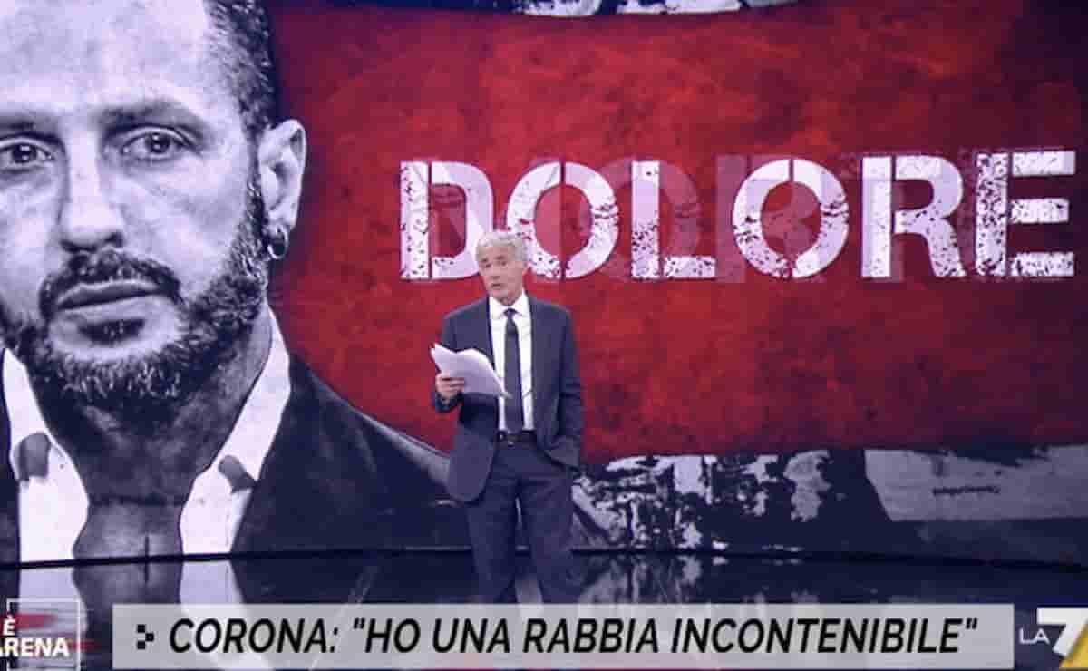"""Fabrizio Corona scrive una lettera e Giletti la legge a Non è l'Arena: """"Sono pronto a morire oggi per i miei diritti"""""""""""
