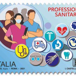 """Francobollo di Poste Italiane dedicato alle Professioni sanitarie: fa parte della serie tematica """"il Senso civico"""""""