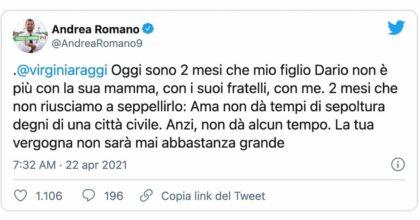 Andrea Romano, il figlio Dario muore e dopo due mesi è ancora senza sepoltura: il tweet contro Virginia Raggi