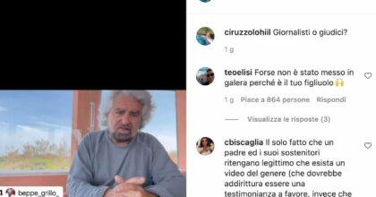 Ciro Grillo rilancia il video del padre Beppe Grillo su Instagram: pioggia di insulti social