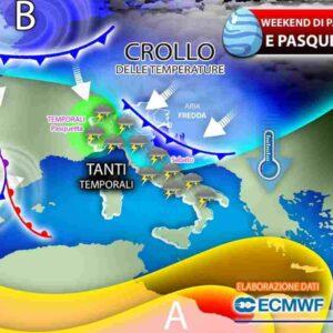 Meteo Pasqua e Pasquetta: arrivano due cicloni dal Nord Europa, tornano freddo e temporali