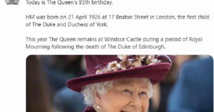 Regina Elisabetta, compleanno di 95 anni in lutto: risponde agli auguri ma è triste per il Principe Filippo
