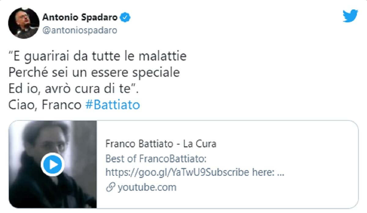 Franco Battiato, l'annuncio della morte in un tweet con video del direttore di Civiltà Cattolica