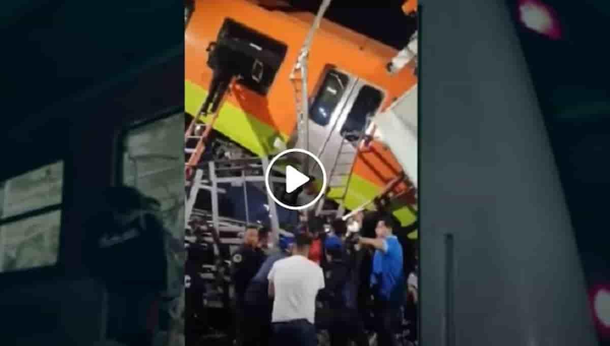 Incidente a Città del Messico: cedimento e crollo del ponte della metro mentre passa un treno VIDEO