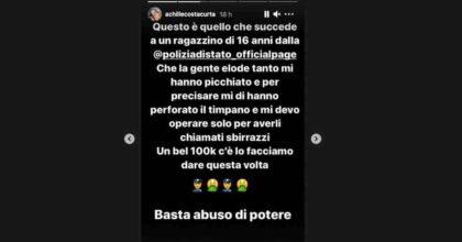 """Achille Costacurta su Instagram: """"Picchiato dalla polizia, mi hanno perforato un timpano, sono all'ospedale e mi devo operare"""""""