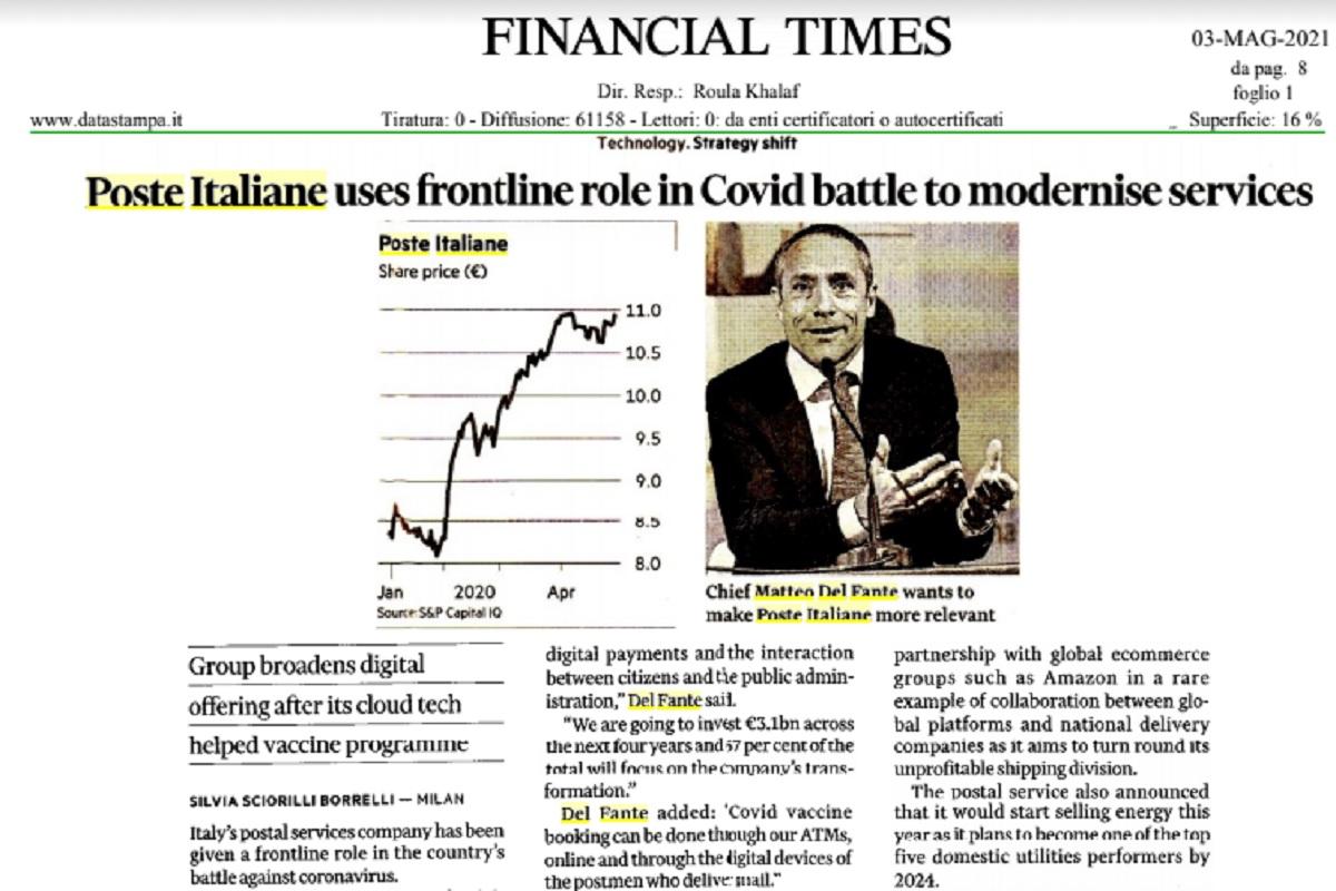 """Poste Italiane, Matteo Del Fante al Financial Times: """"Rete fisica fondamentale per digitalizzazione del Paese"""""""